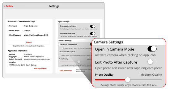 New camera settings on FotoIN mobile apps