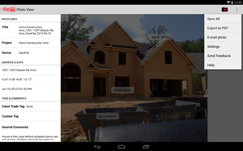 Android tablet landscape with drawer action menu and annotations