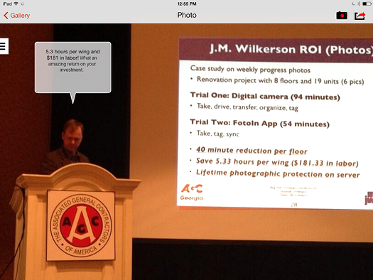 Rob McKinney talking about automated photo documentation, AGCofA in Las Vegas