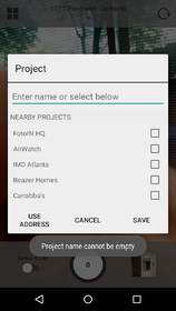 Prompt ensures all photos are saved to a project