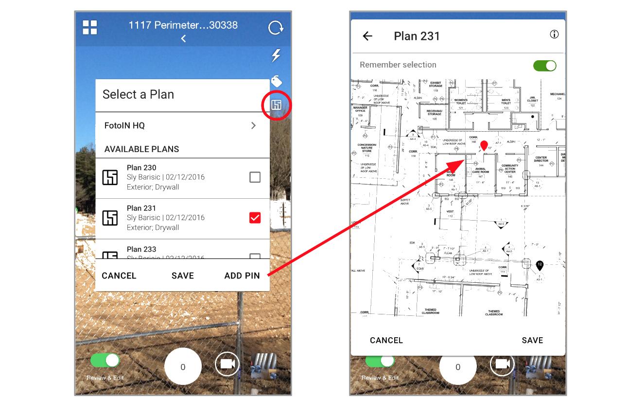 Pin Photos to Plan within FotoIN Mobile App